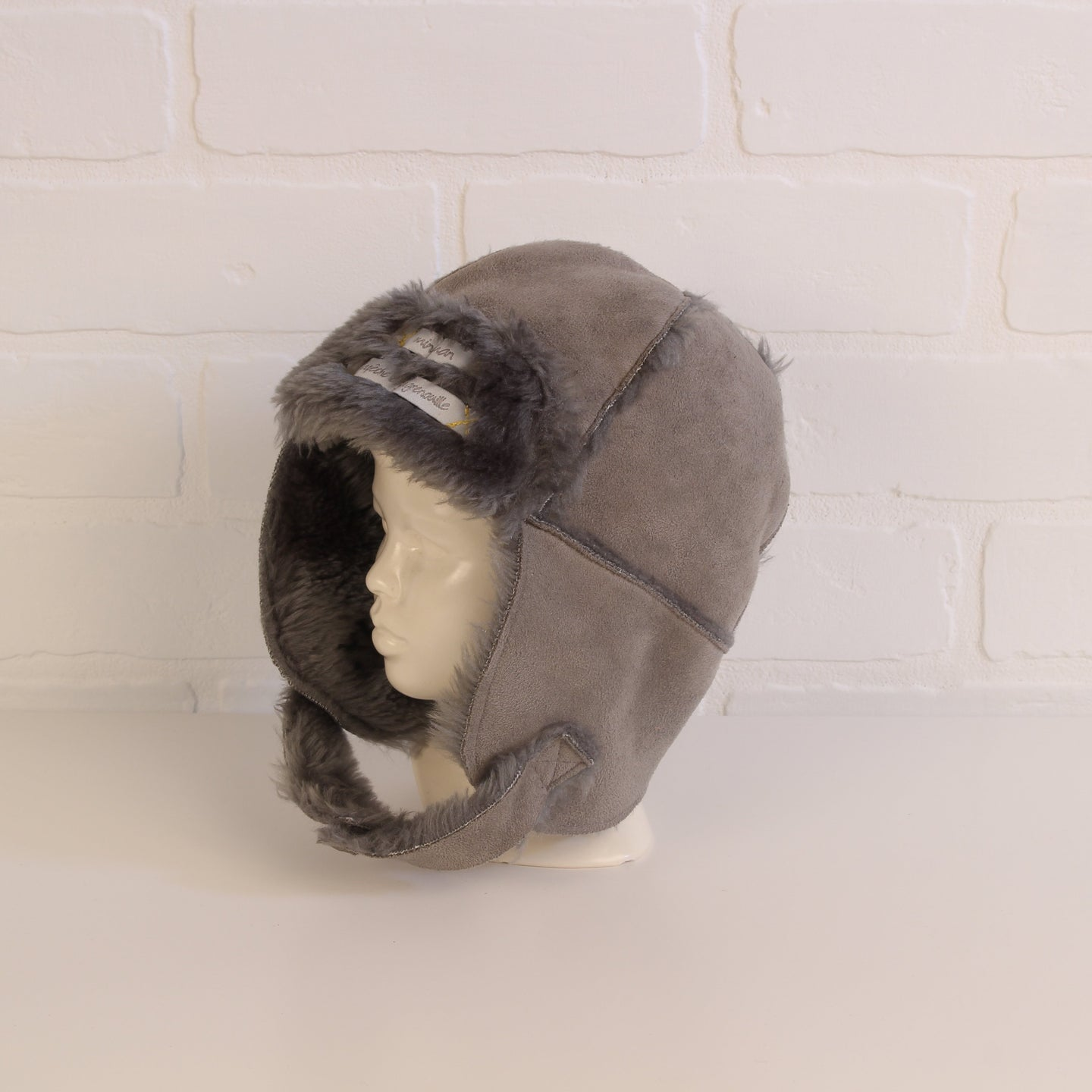 Miniman Grey Shearling Hat (Fits 0-6M)