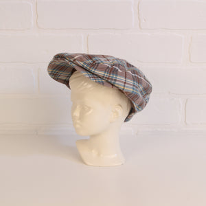 babyGap Brown + Blue Plaid Newsie Cap (Size 6-12M)