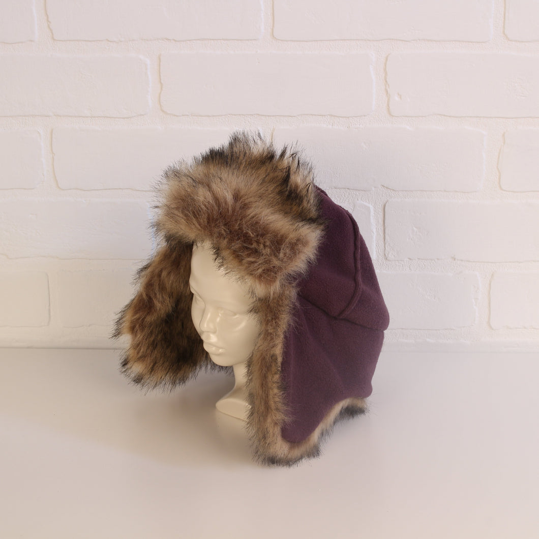babyGap Plum Fleece Trapper Hat with Faux-Fur (Size M/L fits Kids Head Circumference 21