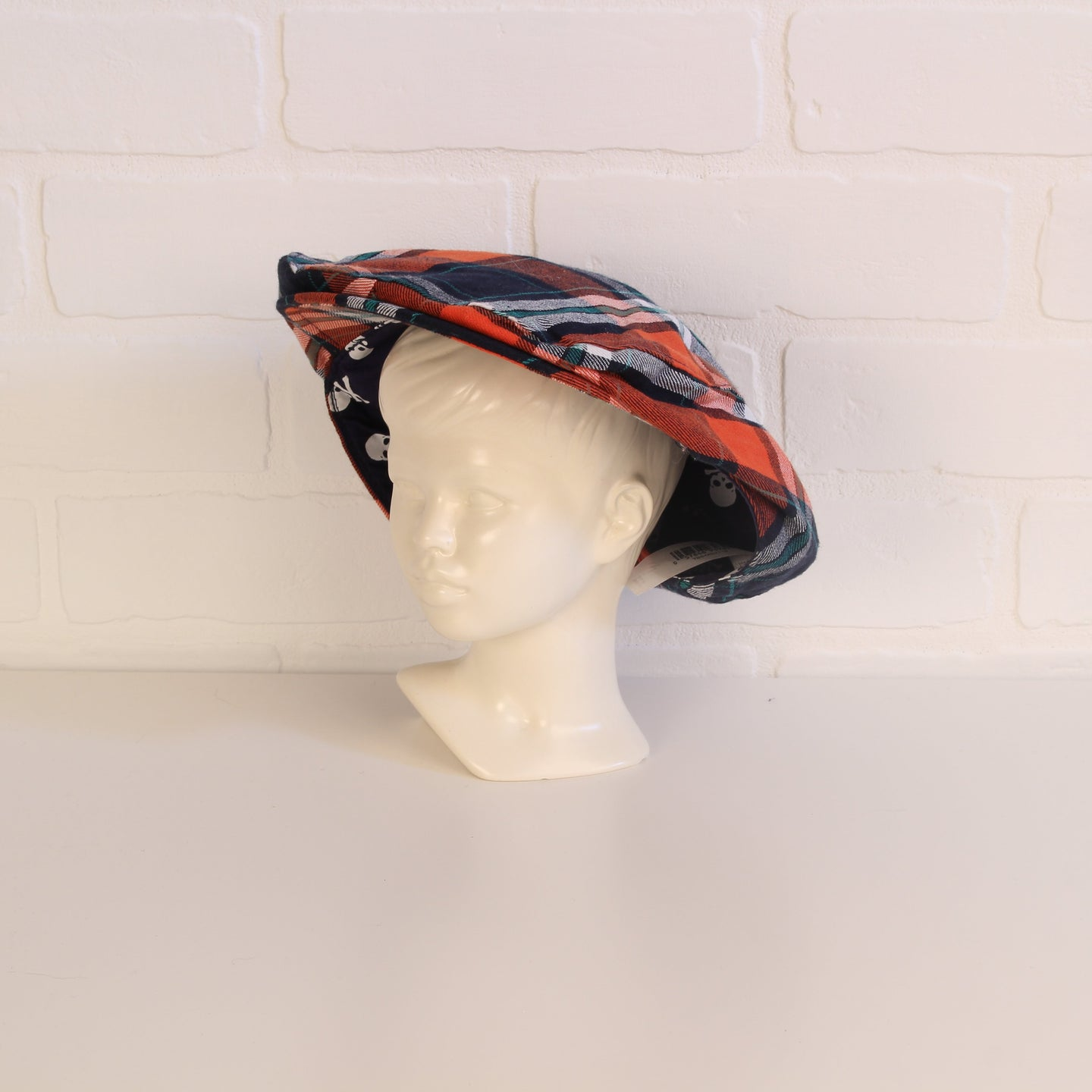 Joe Fresh Navy + Orange Plaid Newsie Cap (Size 4-5)