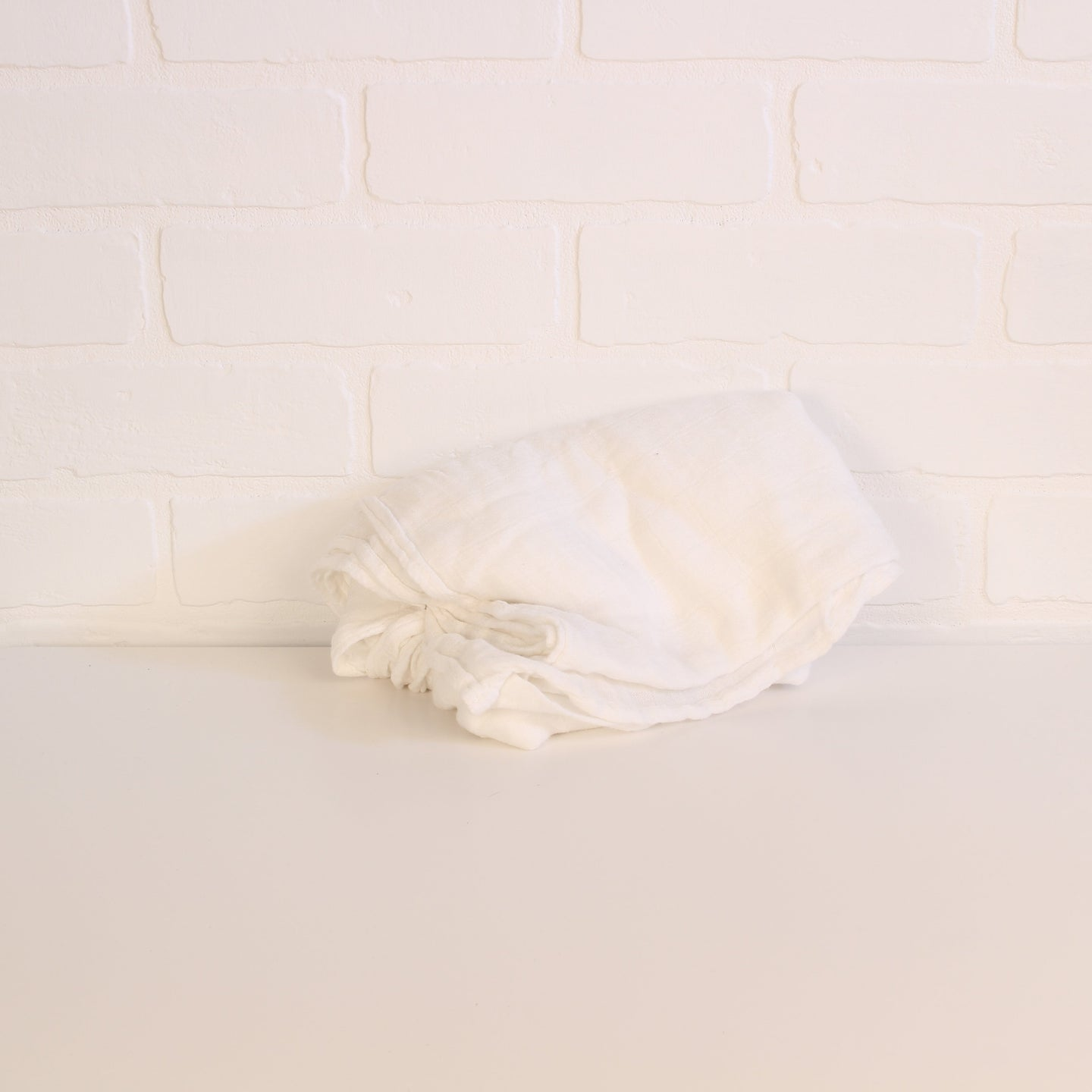 Muslin Swaddle Blanket: White on White Checked