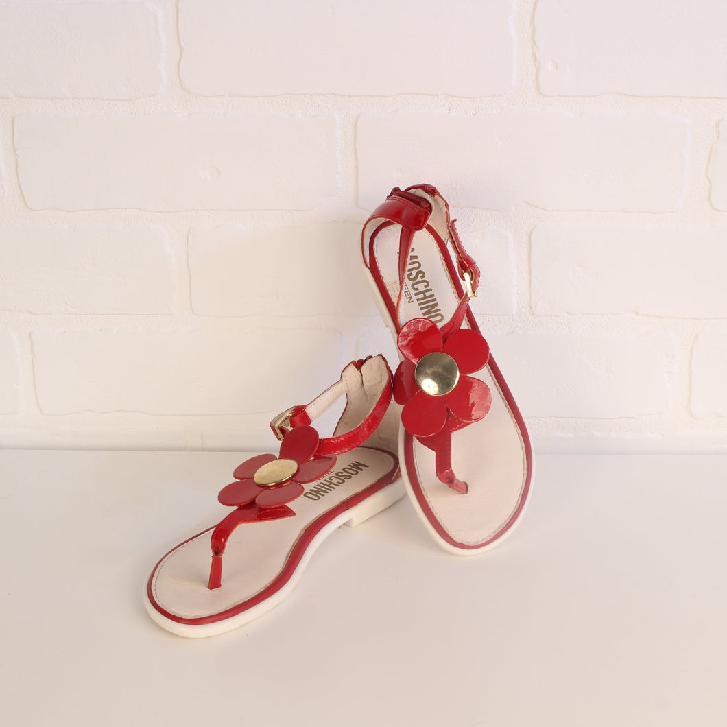 Red Patent Leather Sandals (Shoe Size 32 = U.S. Big Kids Shoe Size 1) *DESIGNER*