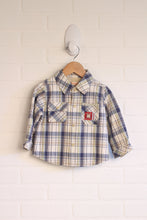 Blue + Cream Plaid Button-Up (Size 80/18-24M)