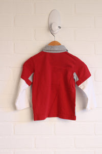 Heathered Grey + Crimson Top (Size 80/12-18M)