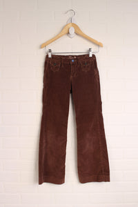 Brown Velour Flare Pants (Size 7)