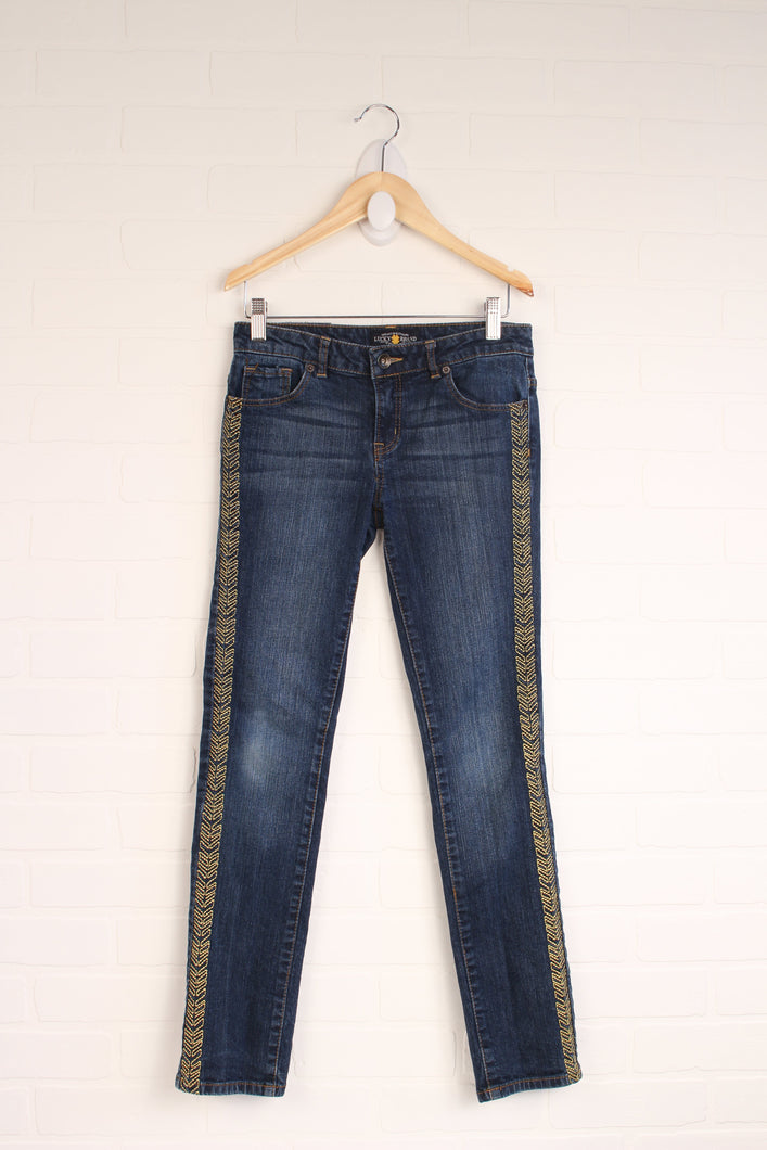 Lucky Brand Vintage Wash + Gold Jeans (Size 14)