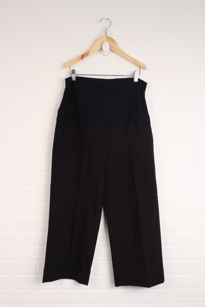 Black Full Panel Cropped Maternity Pants (Maternity Size M)