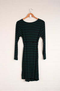 Black + Green Striped Dress (Maternity Size L)
