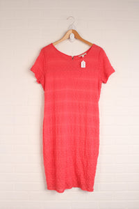Coral Lace Overlay Dress (Maternity Size M)
