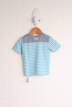Turquoise + Heathered Blue Striped T-Shirt (Size 68 / 6-9M)