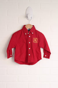 Red + Yellow Logo Button Down (Size 6-9M)