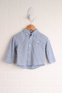 Blue Checked Button Down (Size 6-9M)