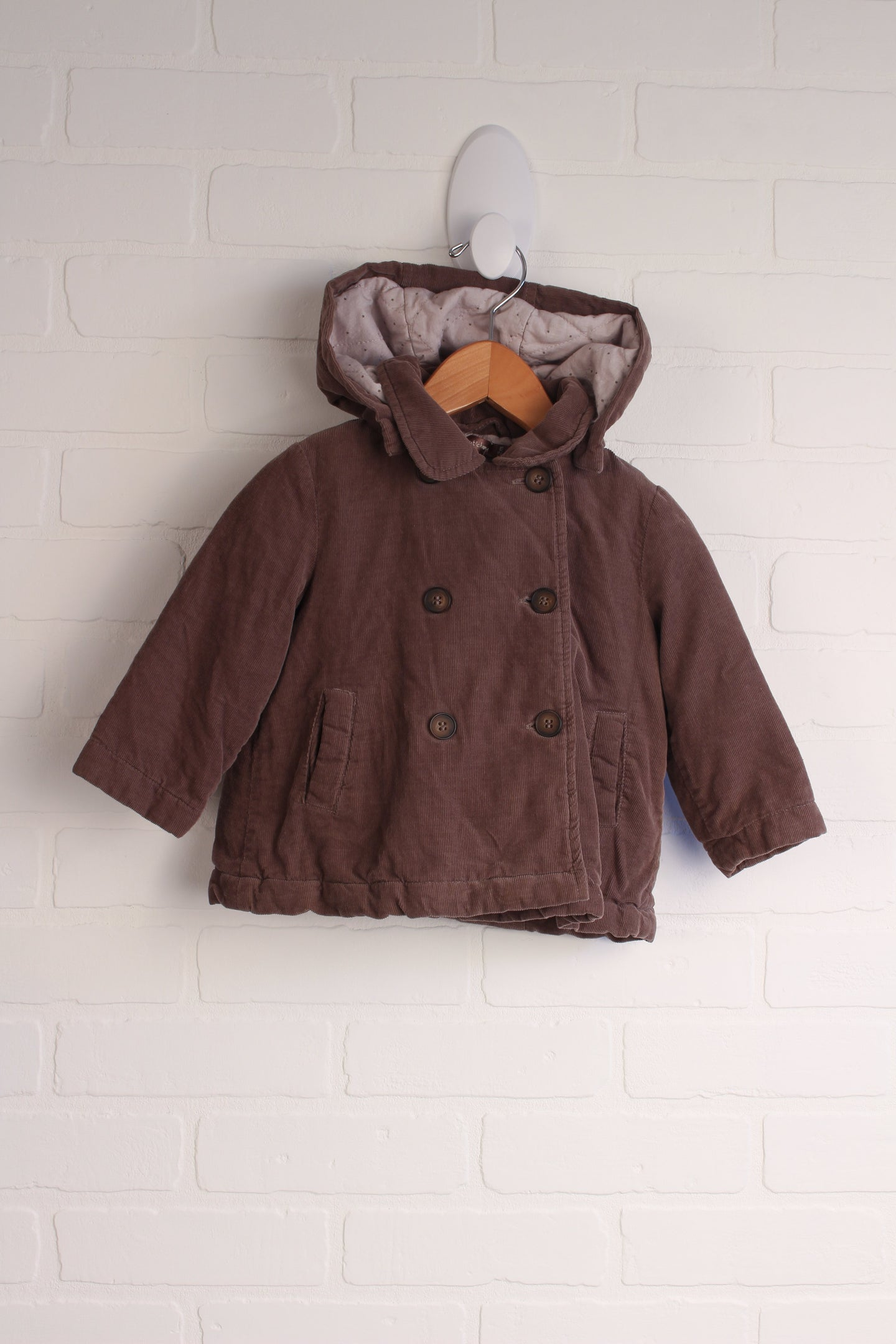Brown Corduroy Coat with Quilted Lining (Size 12M)