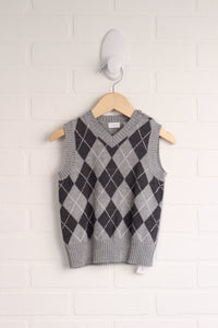 Heathered Grey + Slate Argyle Sweater Vest (Size 86/18-24M)