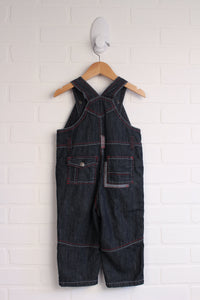 Black Denim Overalls with Contrast Stitching (Size 18M)