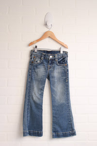 True Religion Distressed Flare Jeans (Size 5)