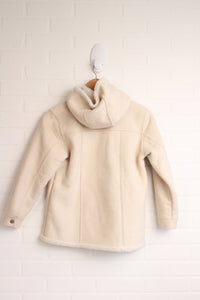 Cream Faux-Shearling Hooded Coat (Size L/10)