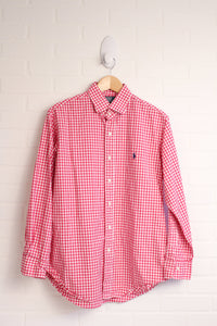 Hot Pink Gingham Button-Up (Size 16/ 32-33)