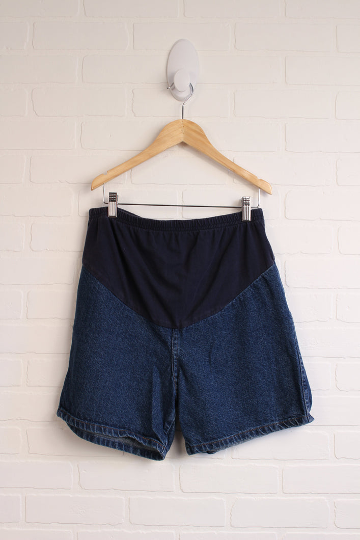 Half-Panel Denim Maternity Shorts (Maternity Size M)