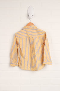 Mustard + Blue Striped Button-Up (Size 2T)