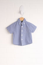 White + Blue Checked Button-Down (Size 3-6M)
