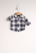 Navy + White Button-Up (Size 3-6M)