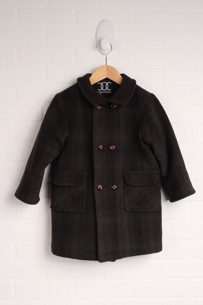 Grey + Brown Two Tone Wool Pea Coat (Size 3)