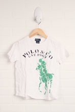 White + Green Graphic T-Shirt (Size 6)