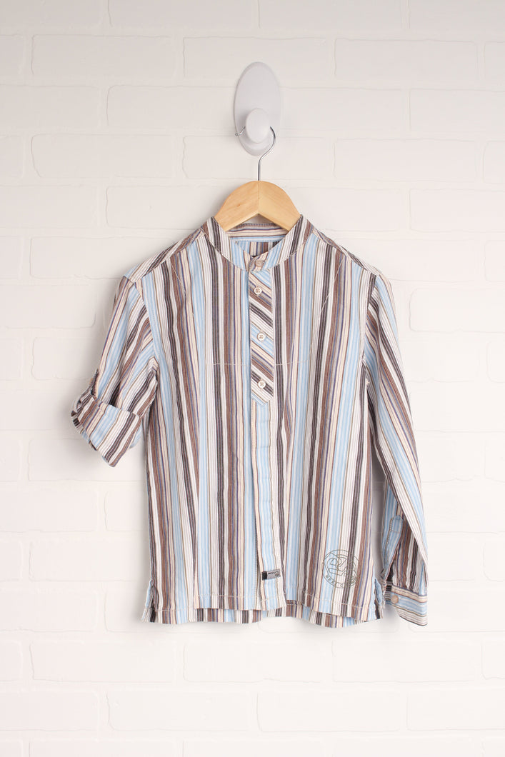 Putty + Light Blue Striped Top (Size 7-8)
