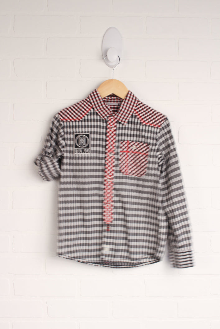 Black + Red Western Button-Up (Size L/7-8)