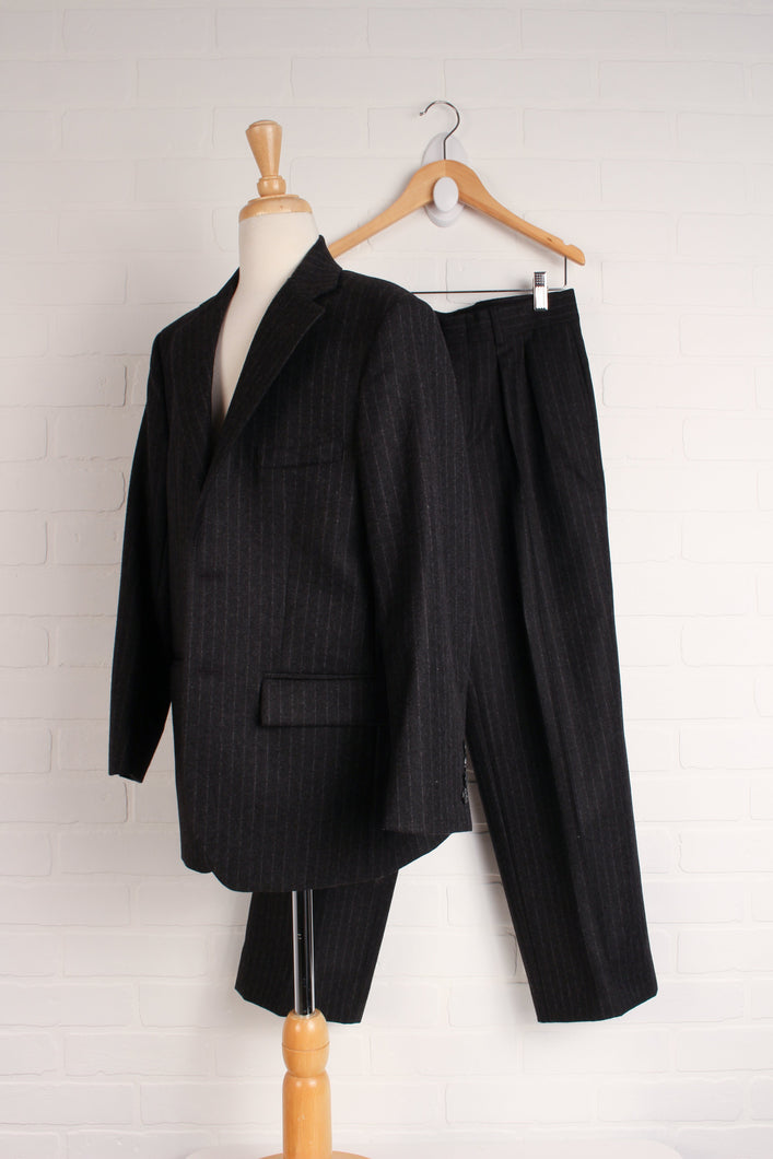 OUTFIT: Black Pinstripe Wool Suit (Size 12)