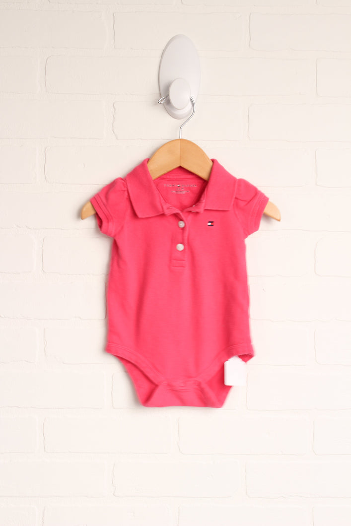 Hot Pink Polo Onesie (Size 3-6M)