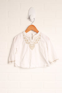 White + Gold Embroidered Top (Size 6-12M)