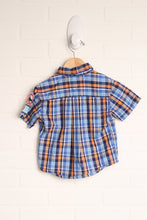 Blue + Orange Plaid Top (Size 2T)