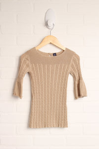 Gold Sweater Dress with Bell Sleeves (Size 3)
