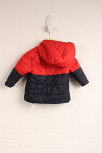 Black + Red Puffer Jacket (Size 6-12M)