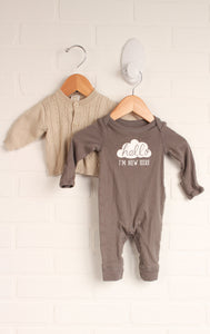 OUTFIT: Putty + Oatmeal Set (Size NB) 2 Pieces