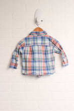 Coral + Light Blue Button-Up (Size 6-12M)