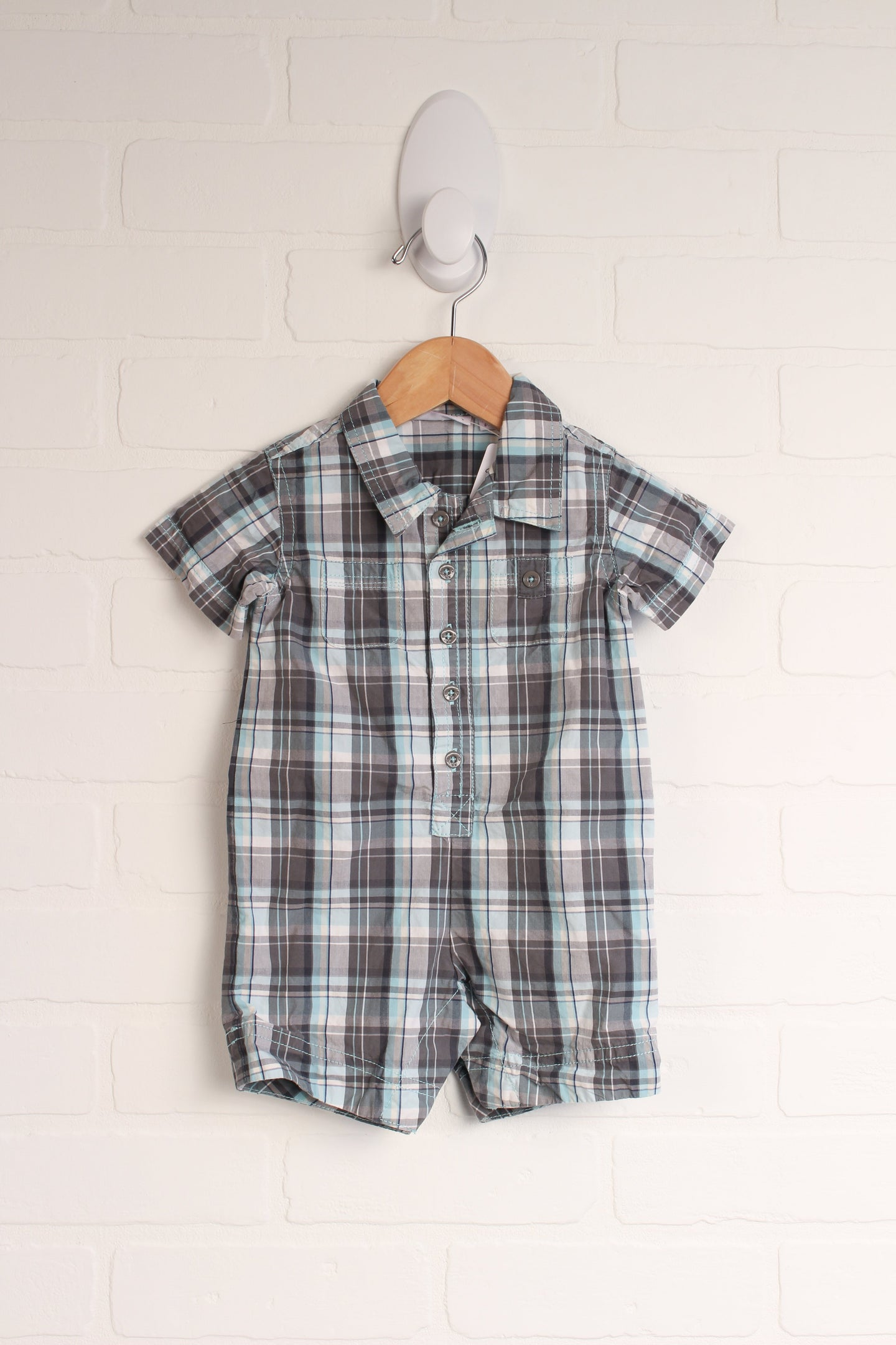 Grey + Turquoise Plaid Romper (Size 68/6-9M)