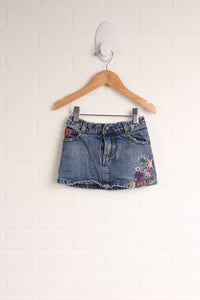 Embroidered Denim Mini Skirt with Bloomers (Size 18M)