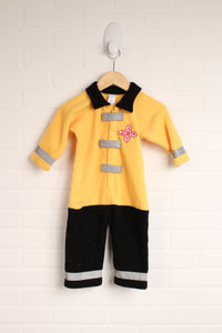 Yellow + Black Fleece Fire Fighter Costume (Size 12-18M)