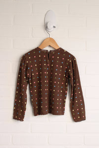 Brown + Multi Lace Trimmed Top (Size 5)