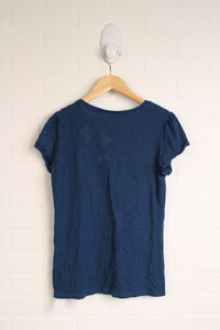 Heathered Blue Graphic Cap Sleeve T-Shirt (Size XL/14)