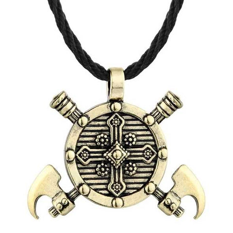 Collier Viking Bouclier et Hache Or