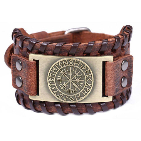 bracelet viking homme cuir or