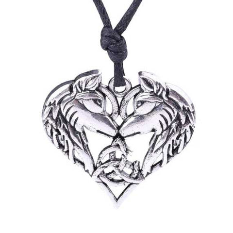 collier viking amoureux loup
