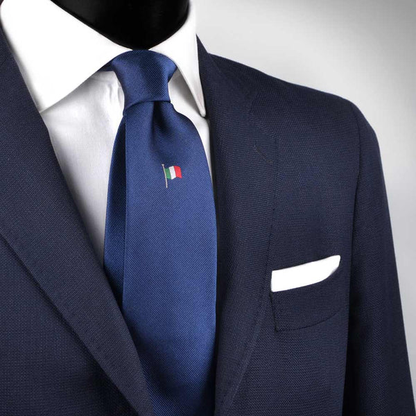 Cravatta con Bandiera Italiana Blu Navy di Seta Made in Italy Graffeo Cravatte