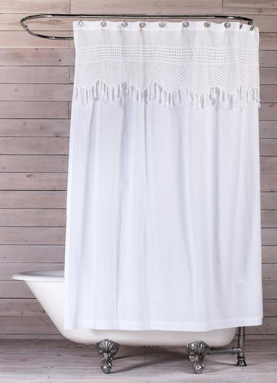 POM POM VINTAGE CROCHET SHOWER CURTAIN