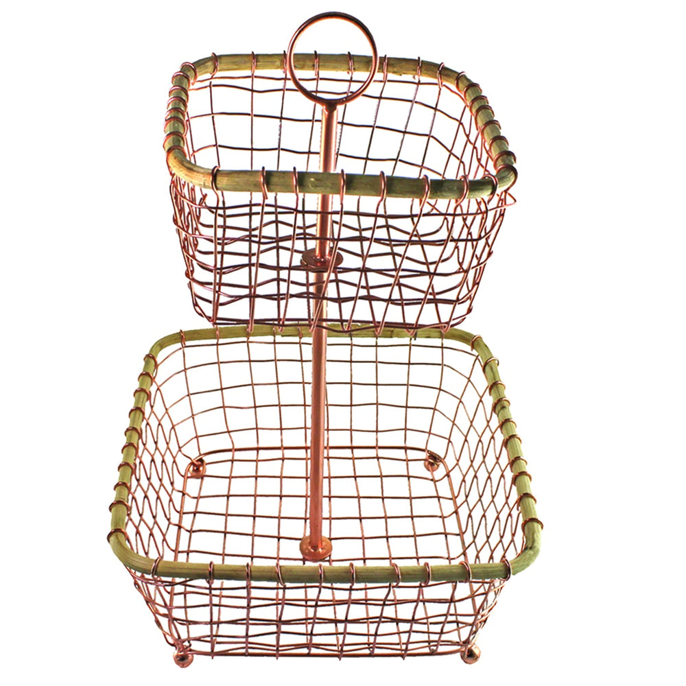 COPPER WIRE & CANE 2-TIER BASKET