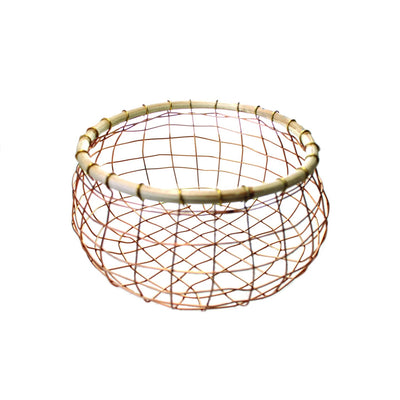 COPPER WIRE & CANE ROUND BASKETS